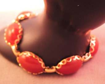 Carnelian Glass and 12k Gold Fill or Plate Bracelet 1950-'60s