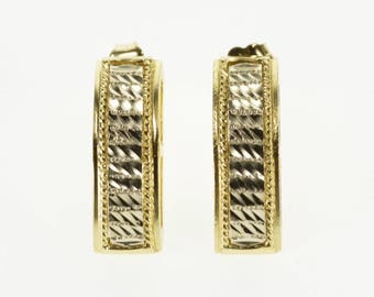 14k Rounded Textured Design Patterned Bar Post Back Earrings Gold
