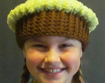 Crochet Cupcake Hat ~ Size Small~ Lime green top/Dark brown bottom