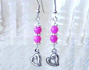 Pink Jade & Silver Heart Charm Earrings, Pink Earrings, Jade Earrings, Charm Earrings, Handmade Beaded Jewelry, Valentine's Day Gift Idea