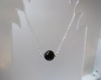 Pearl Necklace, Swarovski Crystal Pearl, Solitaire Pearl, Single, Pearl, Black, Minimalist, Necklace, Swarovski, Wedding, Sterling Silver
