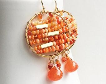 Orange Earrings, Bohemian Earrings, Hoop Earrings, Fire Opal Earrings