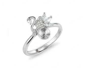 Swan Zircon 925 Sterling Silver Adjustable Ring Findings CD9RM141