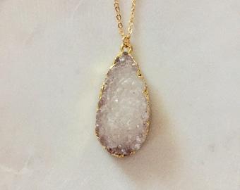 Large White Druzy Stone necklace - Stone Pendant Necklace - Gold Necklace With Druzy Gemstone