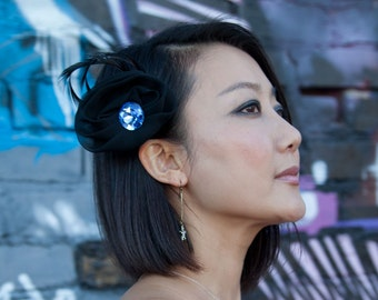 Black Feather Barrette with black chiffon, black goose biot feathers and blue crystal Pin Brooch Hair Clip