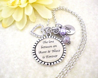Aunt and Niece Jewelry, Aunt Jewelry, Niece Gift, Gift for Niece, Niece Birthday, Gift for Aunt, The Love Between an Aunt & Niece is Forever