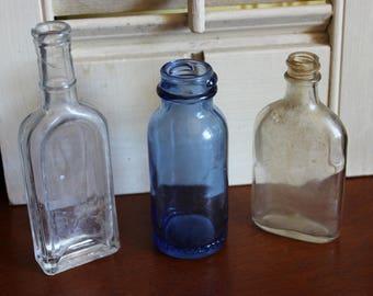 Set of 3 Vintage Bottles, Instant Collection