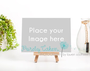 "5x7"" Landscape Photo Photography Print Mock Up on easel frame with vase and plant digital download background"