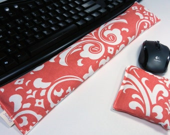 Computer Keyboard and Mouse Wrist Rest in Coral Damask, Keyboard Pad only also available