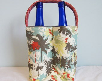 Double Wine Tote - Abstract Palms Red