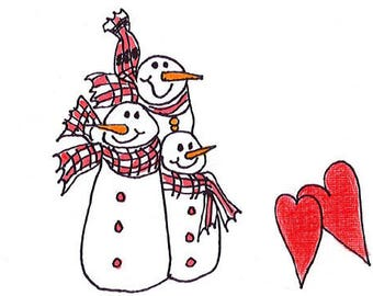 3 Little Snowmen - 5.5 x4 Folded Blank Notecard