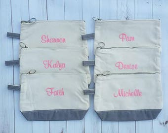 Monogrammed Canvas Make-Up Bag   Bridesmaid Gift   Gift for Her   Gift Under 20   Monogrammed Accessory Bag   Toiletry Bag   Multiple Colors