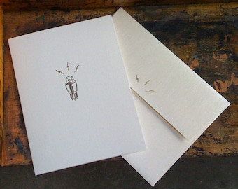 The Conductor Handmade Letterpress Printed Greeting Card - a conductor dude in a tuxedo with 3 lightning bolts!