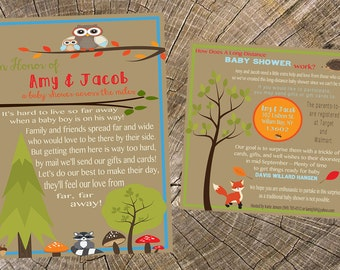 Baby Boy Long Distance Baby Shower-5x7 Invitation and 5x5 Insert Card