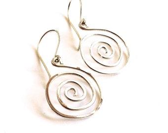 Sterling Silver Sun Swirl Hoops. Medium Swirl Spiral Hoop Earrings. Spiral Earrings. AzizaJewelry