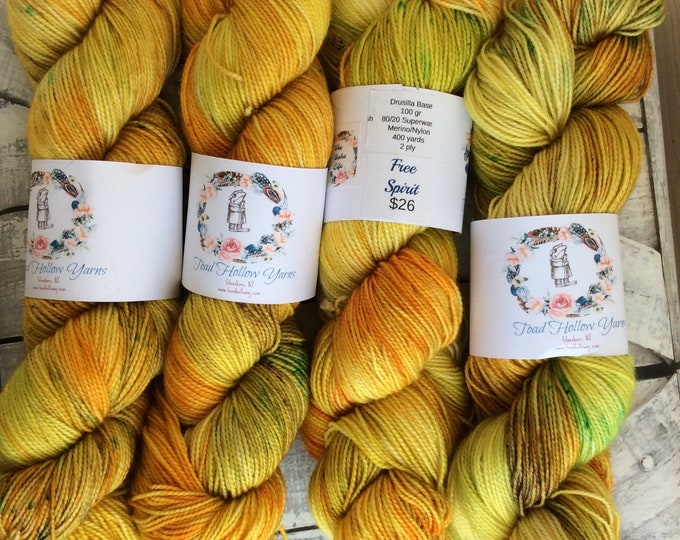 Featured listing image: Hand Dyed Yarn,Free Spirit,Boho Life Series,Yellow Speckled Yarn,Fingering Weight,Superwash,100 grams,indie dyed yarn,Bohemian Sock Yarn