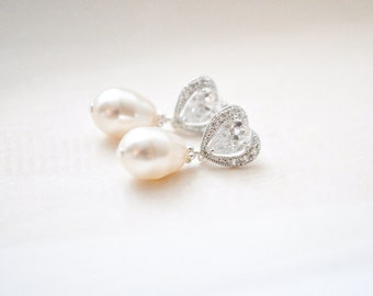 Bridal Earrings, Wedding Earrings, Teardrop Pearl Earrings, Bridal Jewelry