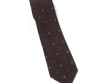 1950's vintage Stern Brothers brown all wool self-tipped skinny neck tie