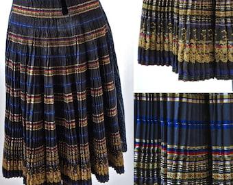 Czech o Slovakian Folk Costume Skirt Fertusek Wrap Accordian Pleats Ribbon Embroidery