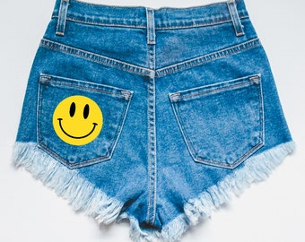 Smiley Face Distressed Denim Shorts - High waisted shorts - jean shorts - distressed shorts - ripped shorts - women's shorts - high waisted