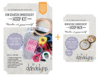 Fun Starter Mini Embroidery Kit and mini hoops (2 sizes) - bundle SPECIAL - DIY - hand embroidery kit and 2 miniature embroidery frames