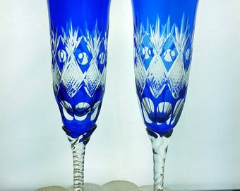 Hand Blown Cobalt Sapphire Blue Cut to Clear Crystal Wine Champagne Flute Glasses Pineapple