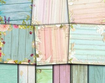Rustic Wood Digital Paper , Floral wood textures , Nautical Wood , Shells on Wood , Flowers on wood paper pack 12x12 Buy 2 Get 1 FREE