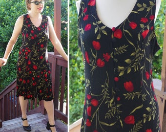 RED Flowers 1990's Vintage Black + Bright Red Button Down Sleeveless Floral Day Dress // size Medium // by Sheri MARTIN New York