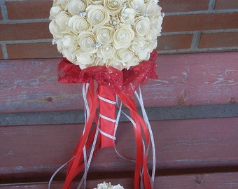 Large Handmade Paper Wedding Bouquet Bride or Bridesmaids Bouquet ANY Colors Free matching Boutonniere