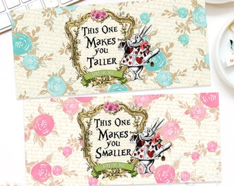 ALICE IN WONDERLAND Labels, Makes You Taller Label, Makes You Smaller Label, Alice Labels, Alice Party, Alice in Wonderland Decor, Digital