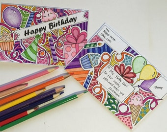 Coloring Page Birthday Card and Matching Envelope printable digital download