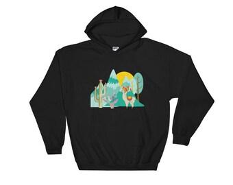 Cute Desert Llama Scene with Mountains Hoodie Sweatshirt