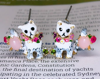 Enamel Kittens Cats Earrings -- Twinkle Twinkle Little Kitty