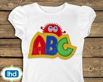 ABC Applique -- ABC Ooga Booga Monster Alphabet Applique Embroidery Design ABC001