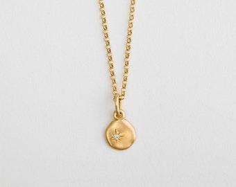 Diamond 18k Yellow Gold Pendant Charm 18 Karat Gold,Cloud Tiny Diamond Charm Women's Necklace 18k Solid Gold Unique Disc