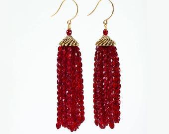 Long Dangling Red Glass Tassel Earrings