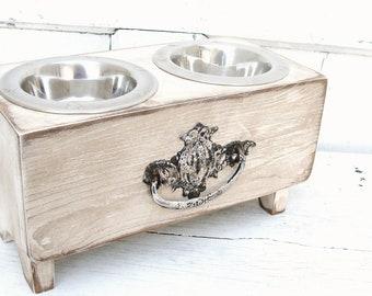 Recycled Dog Feeder, Vintage Dog Bowl, Elevated Dog Bowl, Dog Bowl Stand, Feeding Stands, Shabby Cottage Pet Bowl Holder