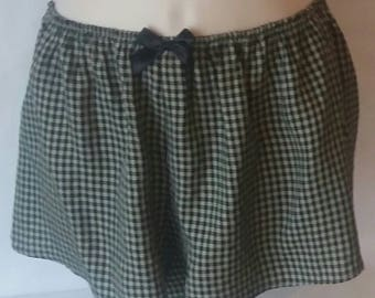 Shorts,Olive Green and black check shorts - see olive greem lace top - mix and match