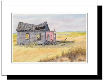 Long Beach Island NJ Shack on Causeway, Original Watercolor Print 11x14