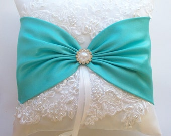 Wedding Ring Pillow with Beaded Lace, White or Aqua Satin Sash Cinched by Pearl and Crystals - The VALENTINA Pillow