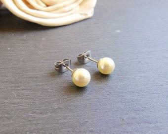 Cream pearl stud earrings, Swarovski pearl post earrings, Swarovski Elements, surgical steel earrings, 6mm pearl earrings, bridal jewelry