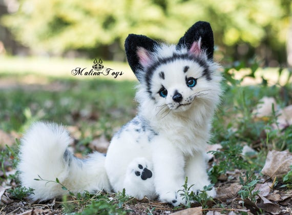 Custom Order Handmade Poseable Toy Arctic Marble Fox Fox