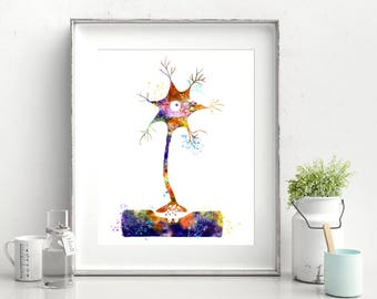 Neuron Cell Synapse Brain Cells Chemical Synapses Art Watercolor Print Biology Art Science Poster Nerve Cells Medicine Art (Nº21)