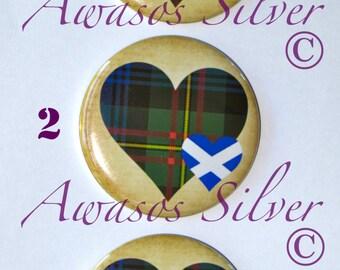 MacLaren Tartan Heart pin back button, pocket mirror, magnet or bottle opener/keyring