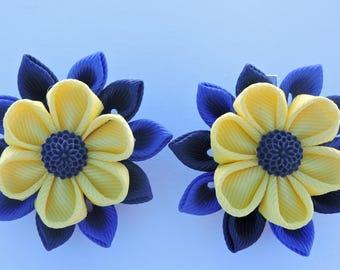 Kanzashi Fabric Flowers. Set of 2 hair clips. Lemon ,Navy and Royal clips.