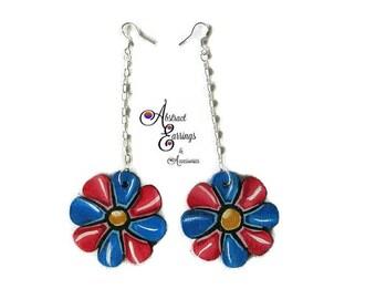 Flower Drop Dangle Earrings, Hand Painted Wood Earrings, Red and Blue Floral Earrings, Abstract Earrings