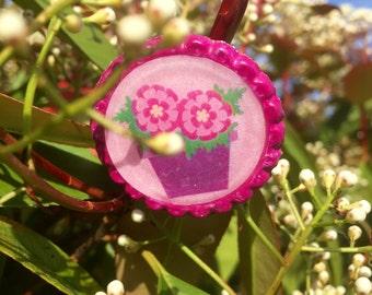 Adjustable Maxi ring Bottlecap upcycling summer 2016 pink flower power floral