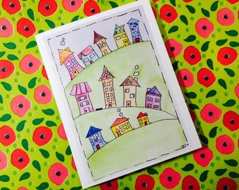 Welcome to the Neighborhood Card, New Neighbor Card Water Color Neighborhood made on recycled cardstock, comes with envelope and seal