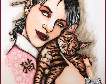 Neko - whimsical Japanese inspired realistic digi art stamp of a girl holding a cat - see info for promo code