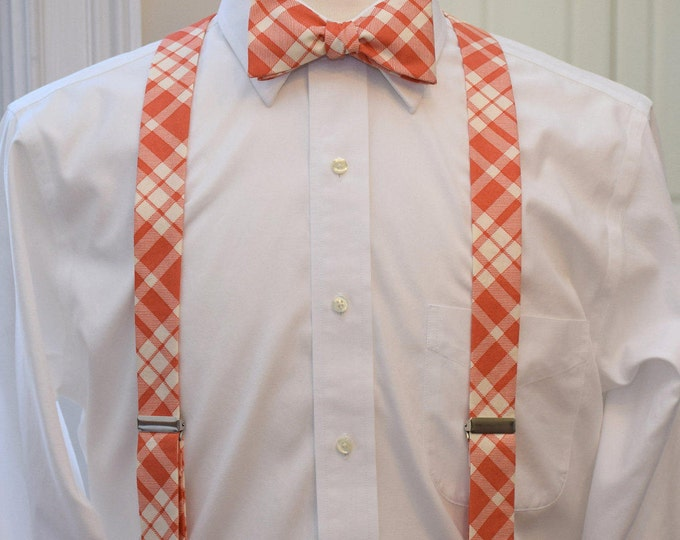 Men's Suspenders and Bow Tie set, coral/salmon & ivory plaid, groomsmen's gift, wedding party attire, men's braces, clip on suspenders,